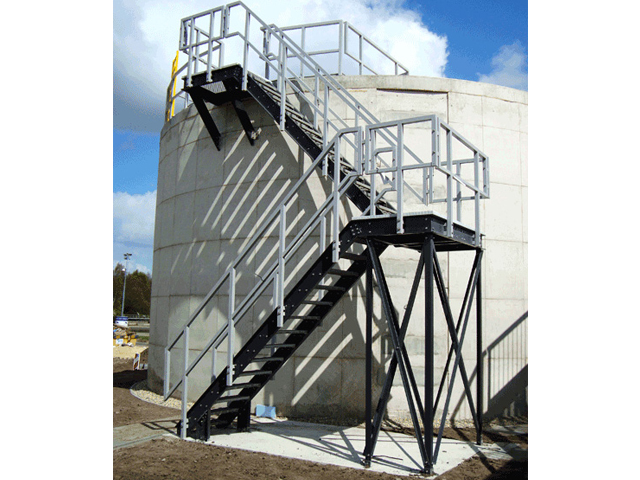 Fiber Glass Reinforced Plastic Light Gray Railing in Wastewater Treatment Facility